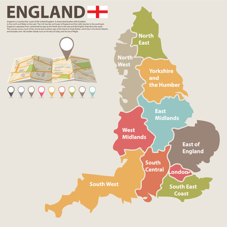 british isles: A large, colored map of England with all counties