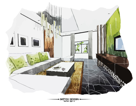 living room design: Vector interior sketch design. Watercolor sketching idea on white paper background.