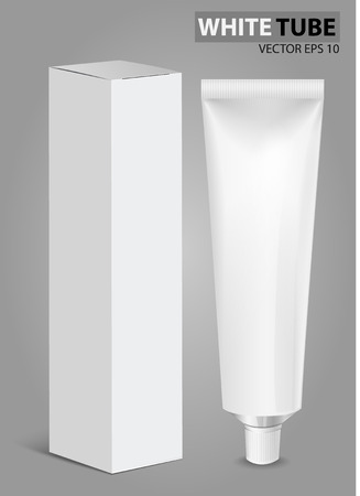 Tube Of Toothpaste, Cream Or Gel with box. Ready For Your Design. Product Packing Vector EPS10