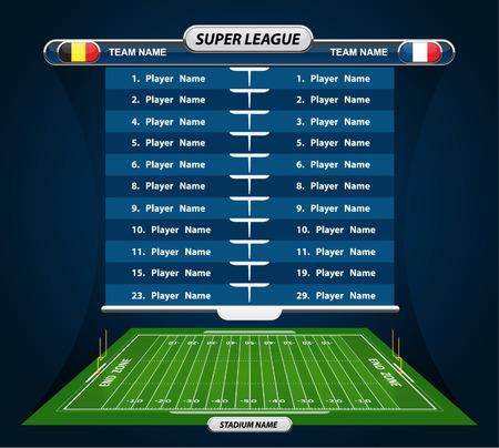 campo di calcio: Campo di calcio americano e Lineup Player con elementi di strategia