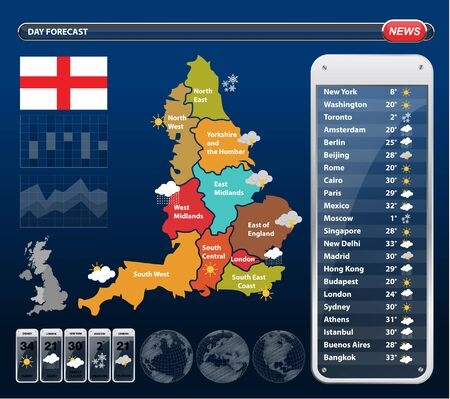 England Regions Map with Weather widgets template. Illustration