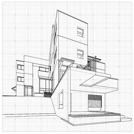 front of house: Perspective 3D render of building wireframe - Vector illustration