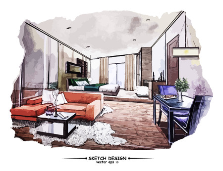 modern interior room: Vector interior sketch design. Watercolor sketching idea on white paper background.
