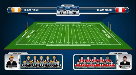 terrain de foot: Terrain de football américain et Lineup Player avec des éléments de stratégie