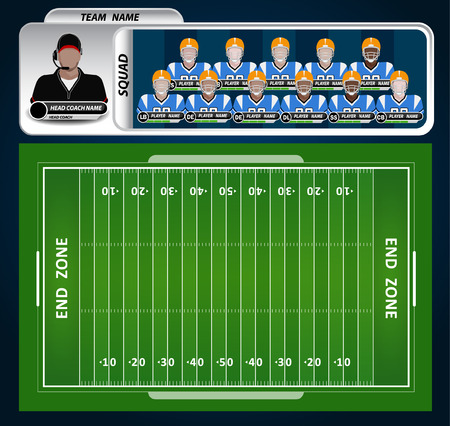 American Football field and Player Lineup with strategy elements Stock Illustratie