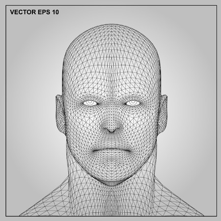 Vector concept or conceptual 3D wireframe human male or man head isolated on gray background Imagens - 51426868
