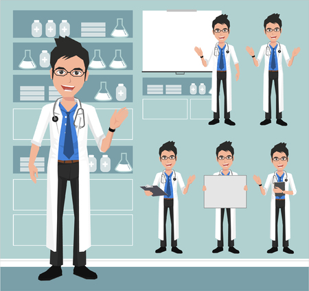 hospital ward: Young doctor presenting in various action. vector illustrationon the background of hospital ward.