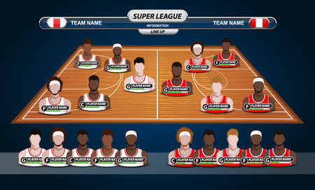 courts: Basketball Player Lineup and Basketball court Illustration