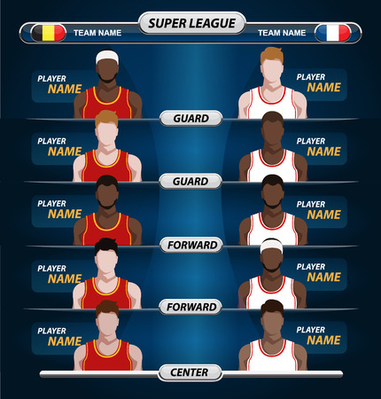 court symbol: Information before game start concept. Basketball Player Lineup