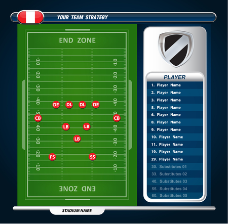 football field: American Football field with set of infographic elements