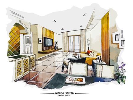 boceto: Vector de dise�o de interiores boceto. Idea de dibujo Acuarela sobre papel blanco de fondo