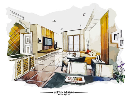 wood furniture: Vector interior sketch design. Watercolor sketching idea on white paper background