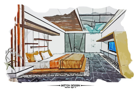 letti: Vector interior design schizzo. Idea Acquerello schizzo su carta sfondo bianco
