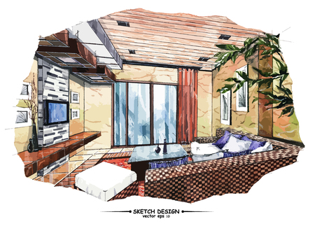 interior decoration: Vector interior sketch design. Watercolor sketching idea on white paper background