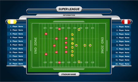 tackling: American Football field and Player Lineup with strategy elements Illustration