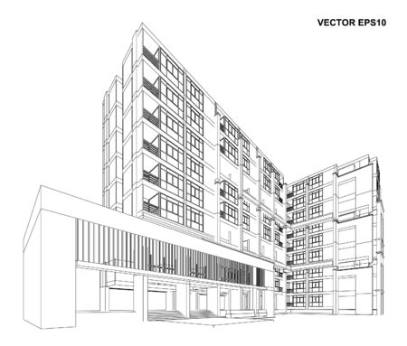 Perspective 3D render of building wireframe - Vector illustration Vetores