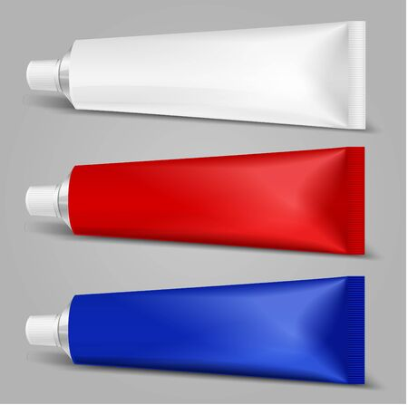Tube mock-up for cream, tooth paste, gel, sauce, paint, glue. Packaging collection. Vector illustration.