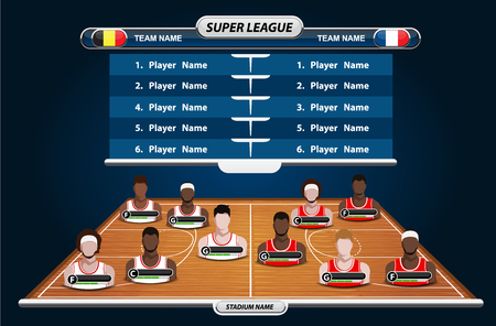 courts: Basketball Player Lineup and Basketball court with Set of infographic elements