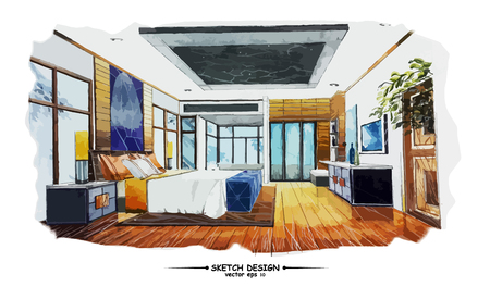 interior design: Vector interior sketch design. Watercolor sketching idea on white paper background