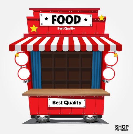 Fast food trolley on a colored background. 向量圖像