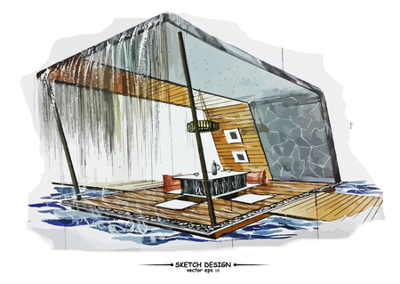 furniture design: Vector interior sketch design. Watercolor sketching idea on white paper background