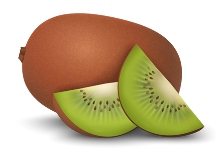 slice: closeup kiwi and kiwi slices on a white background Illustration