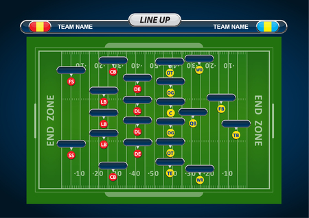 football player: American Football field and Player Lineup with strategy elements Illustration