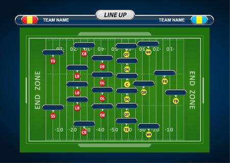 jugador de futbol: Campo de fútbol americano y Formación Player con elementos de estrategia Vectores