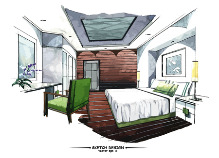 modern house sketch: Vector interior sketch design. Watercolor sketching idea on white paper background