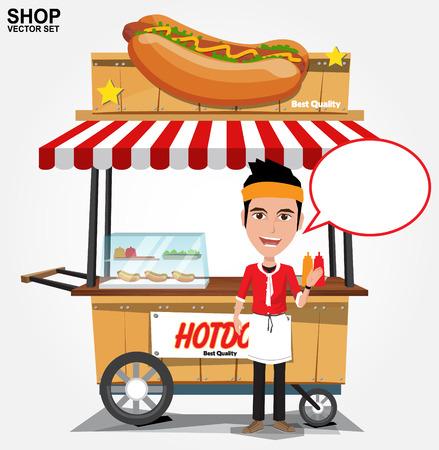 vendedores: caliente cesta calle perro con seller.vector Vectores