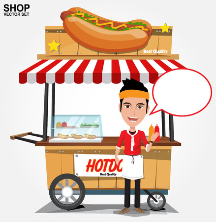 hot dog: hot dog street cart with seller.vector Illustration
