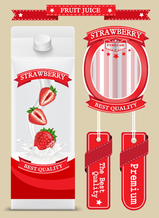 white boxes: White carton boxes with Label vector visual, ideal for fruit juice. Illustration