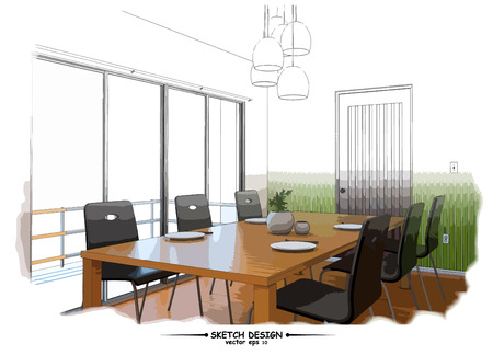 concept design: Vector interior sketch design. Watercolor sketching idea on white paper background