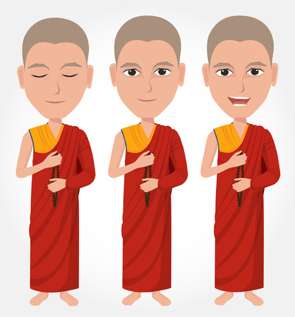 buddhist: Tibetan Buddhist monk cartoon Illustration