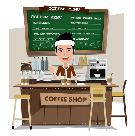 barista: coffee bar and barista.  Illustration