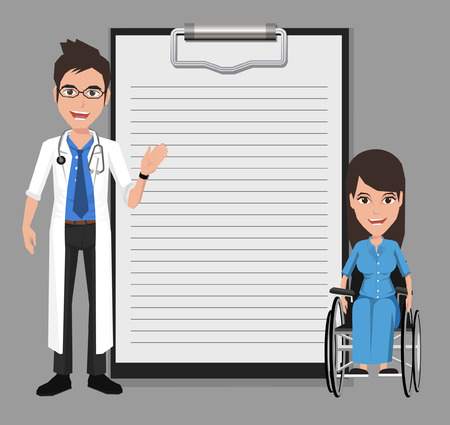 present presentation: Doctor with woman in a wheelchair showing blank clipboard sign for presentation