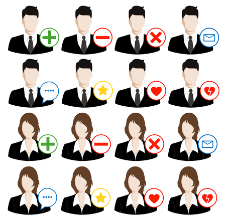 bussinessman: Vector social media icons. avatars icons set. Illustration