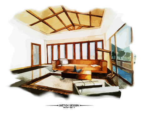 preliminary: Vector interior sketch design. Watercolor sketching idea on white paper background