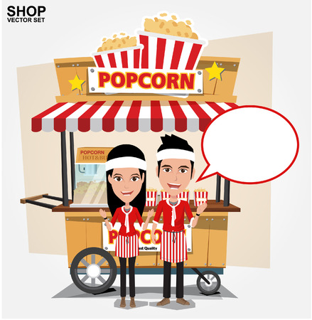 seller: popcorn cart with seller