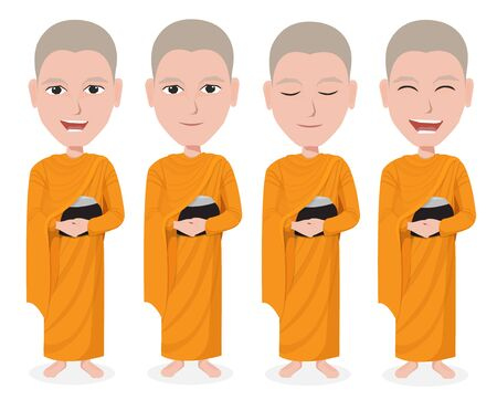 beg: Cartoon Thai Monk vector