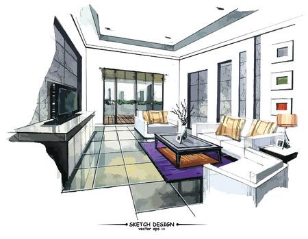 arquitecto: Vector de diseño de interiores boceto. Acuarela bosquejar idea sobre fondo de papel blanco. Vectores