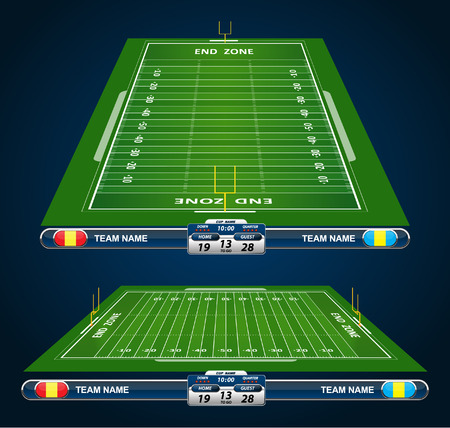 kickoff: detailed illustration of an American Football fields with different perspective