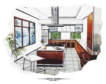 arquitecto: Vector de diseño de interiores boceto. Idea de dibujo Acuarela sobre papel blanco de fondo