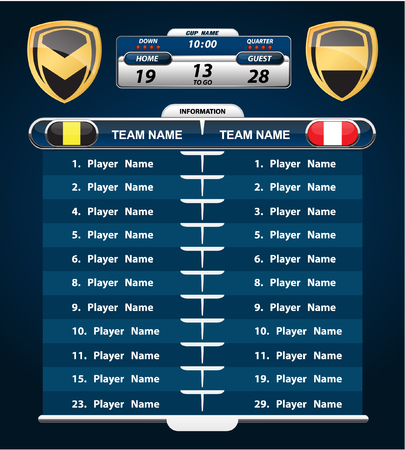 line up: American Football. Player Line up with set of infographic elements