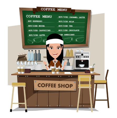 barista: coffee bar and barista woman.