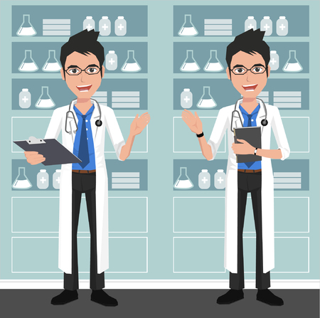 researches: Young doctor on the background of hospital ward.