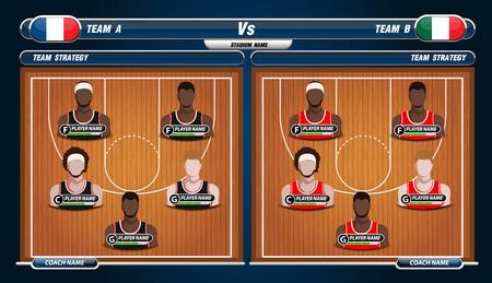 lineup: Basketball Player Lineup and Basketball court Illustration