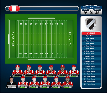 defensive: American Football field and Player Lineup with strategy elements Illustration