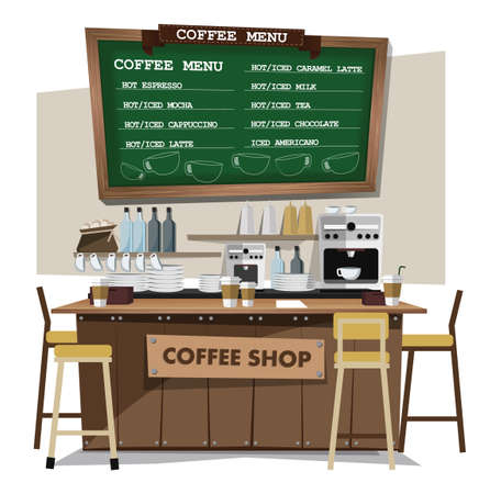 coffee background: coffee bar, coffee shop. Flat style illustration. EPS 10 vector.