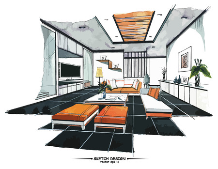 modern living room: Vector interior sketch design. Watercolor sketching idea on white paper background.